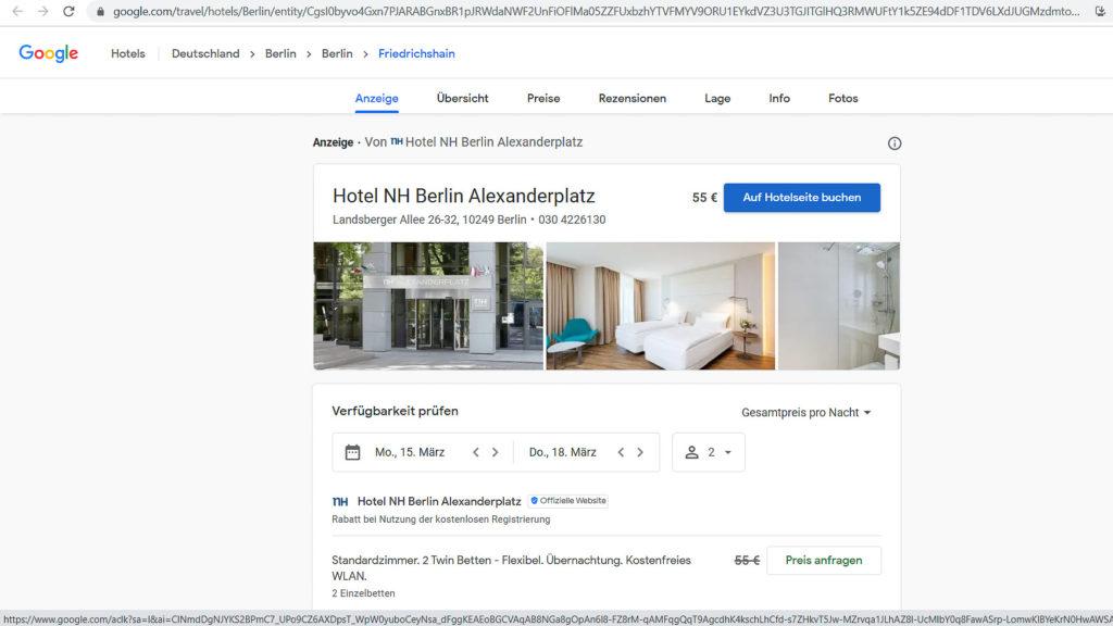 Hotels, die mittels  API Daten mit Google austauschen, bieten alle Funktionen
