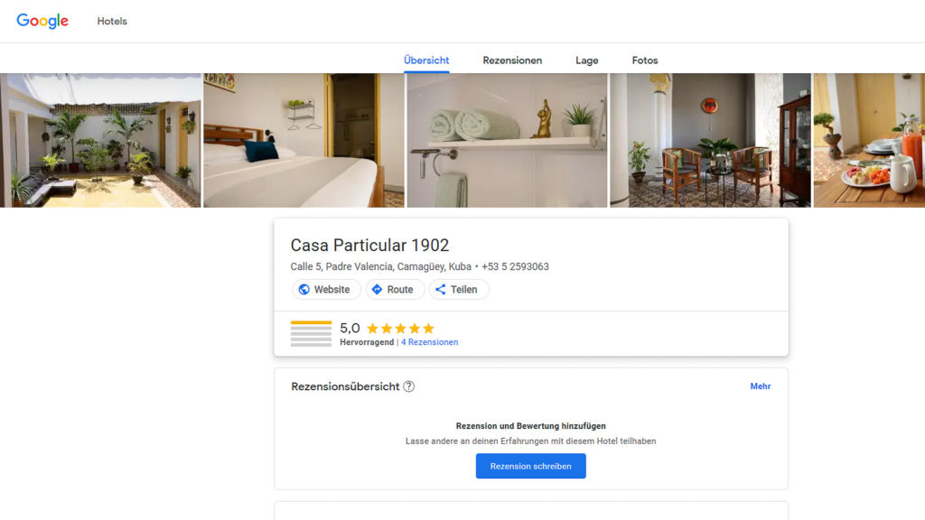Noch ist unser Casa auf google.com/travel nicht perfekt repräsentiert